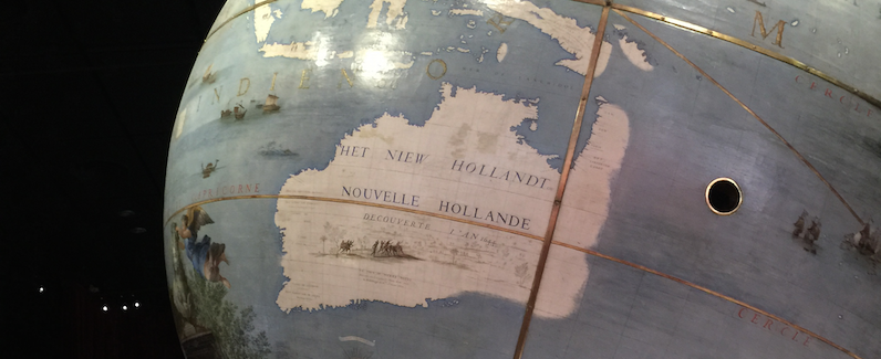 "Image - Historical cartographic depiction of Australia (Nouvelle Hollande) on one of the ""Globes of the Sun King"" in the Bibliotheque Nationale de France collection."