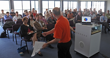 Image - Joe Thurbon addresses the CSU eResearch showcase.