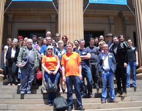 Image - THATCamp Sydney participants on the steps of the State Library of NSWTHATCamp Sydney participants on the steps of the State Library of NSW