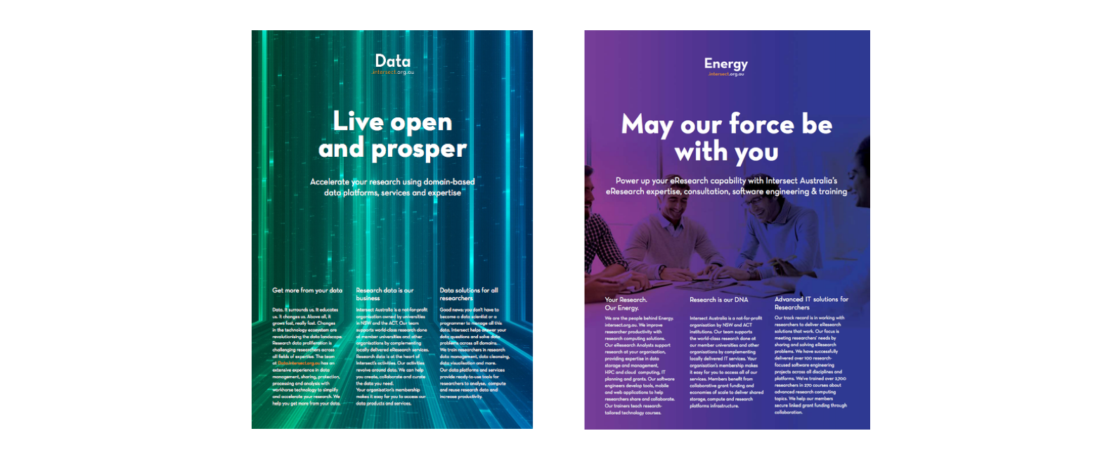 Image - Intersect's Data and Energy Brochure covers